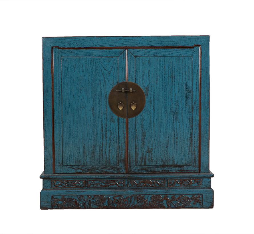 Antike Kommode aus China 2 Türen blau