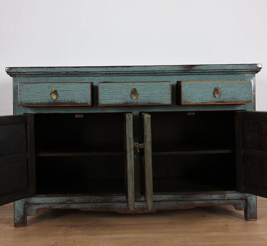 Antike Kommode Sideboard 4 Türen 3 Schubladen grau