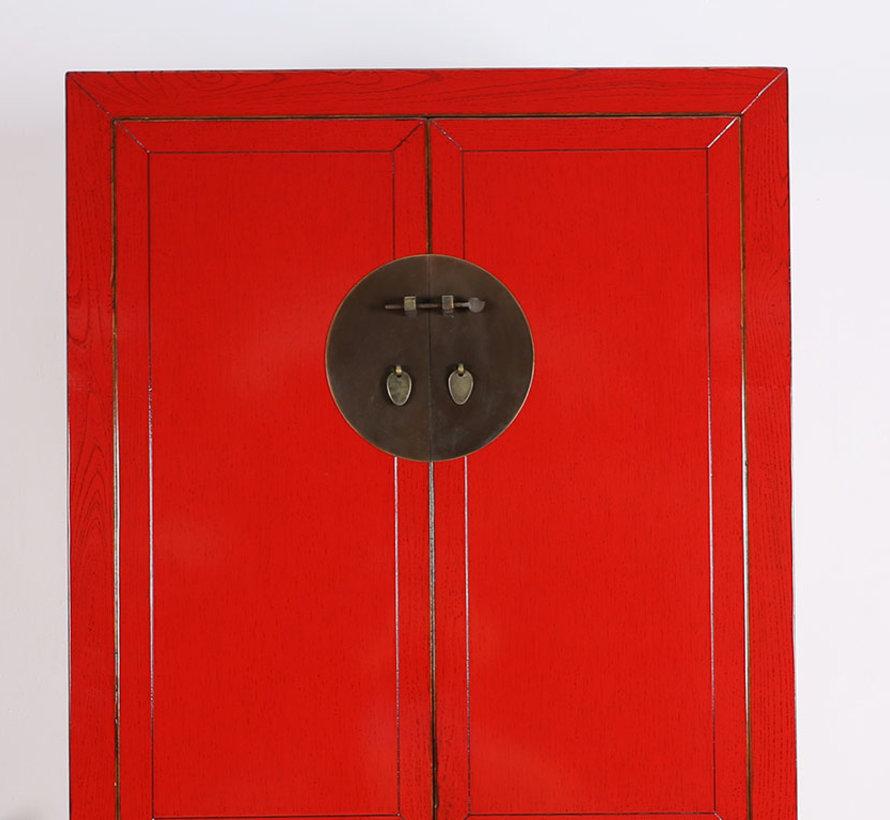 Chinesischer Hochzeitschrank 2 Türen 4 Schubladen rot