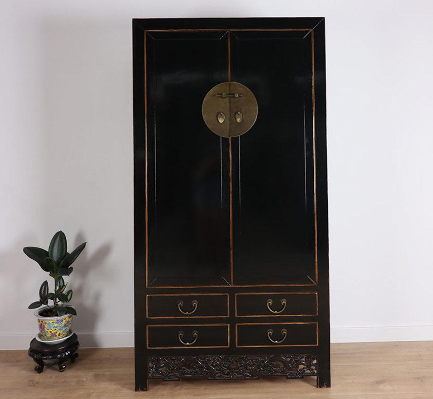 Chinesischer Hochzeitschrank 2 Türen 4 Schubladen schwarz