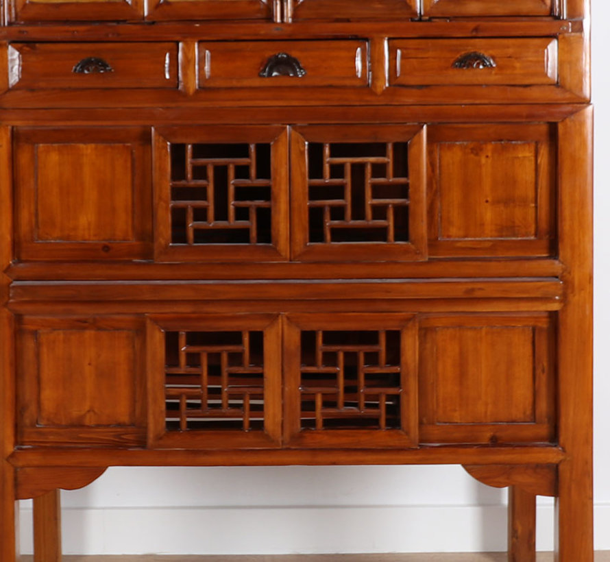 Antiker Hochzeitsschrank 4 Schranktüren & 4 Schiebetüren braun