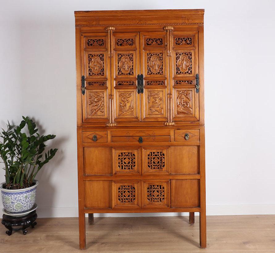Antique wedding cabinet 4 cabinet doors & 4 sliding doors brown