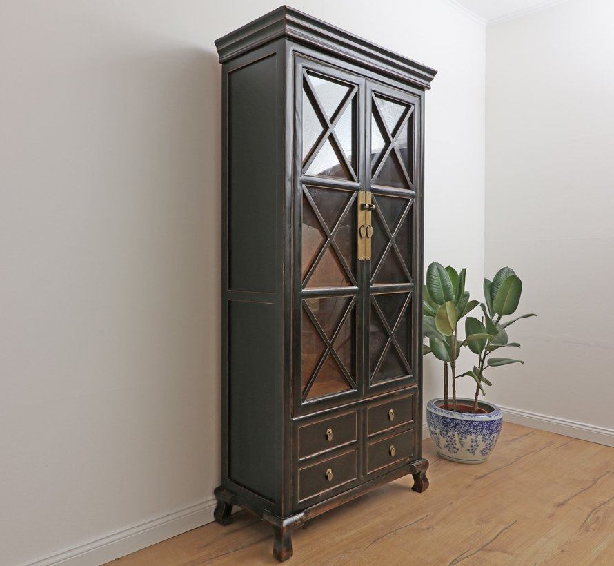 Showcase with hand painted Chinese cabinet black