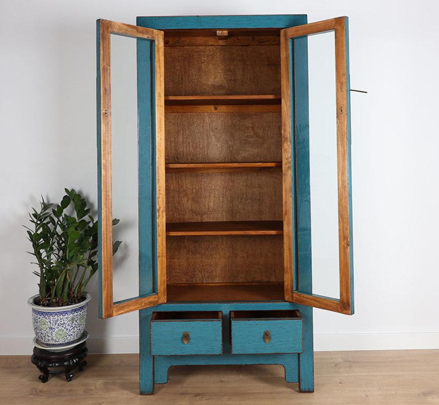 Vitrine Showcase 2 Türen 2 Schubladen blau