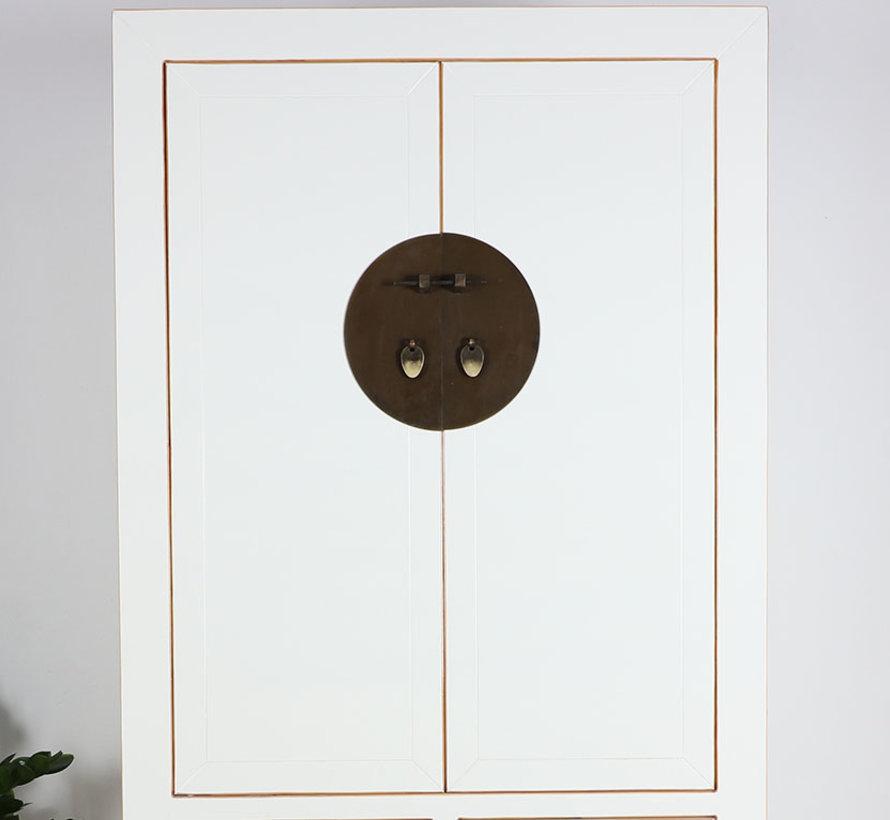 Chinesischer Hochzeitsschrank 4 Türen 2 Schubladen weiß