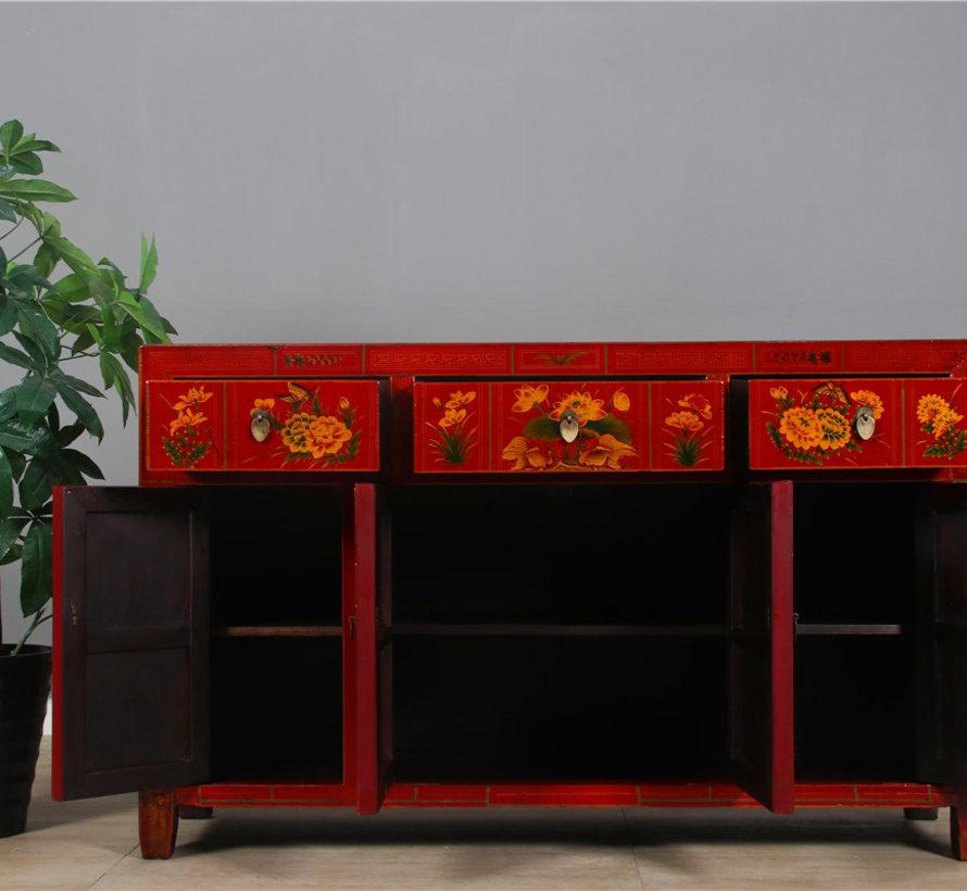 Antikes handbemaltes Sideboard mit Blumenmuster rot