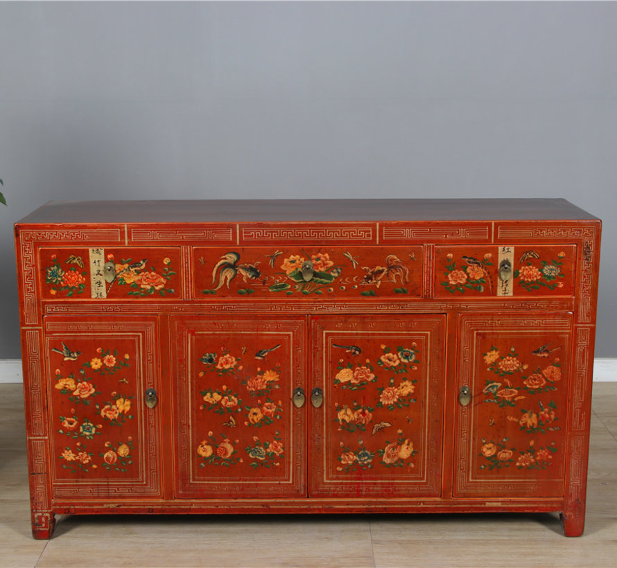 Antique hand-painted sideboard with floral pattern red