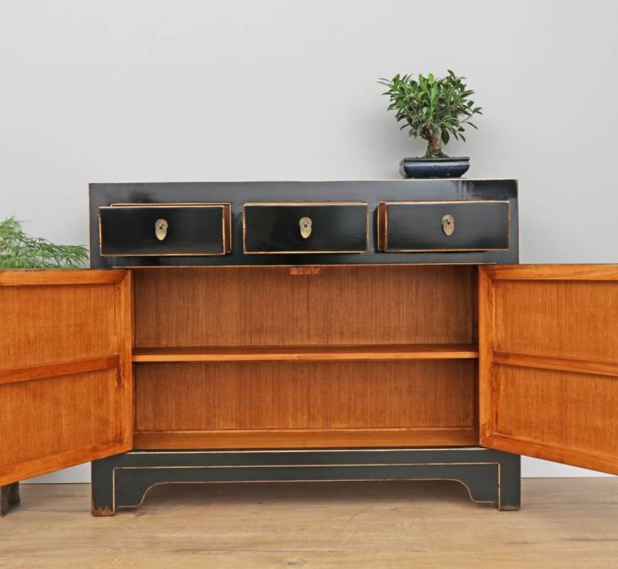 Chinese sideboard solid wood TV table chest of drawers black