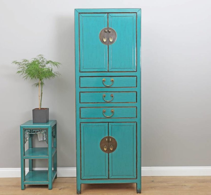 Chinese dresser wedding cabinet solid wood turquoise