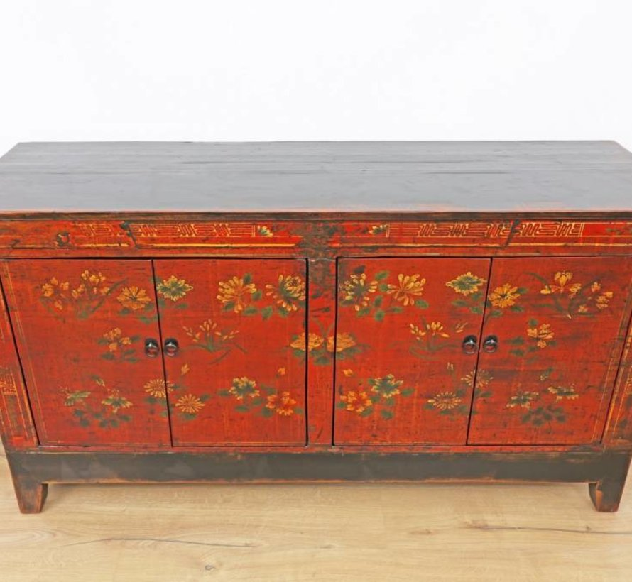 Antikes handbemaltes Sideboard, rot, mit floralen Mustern