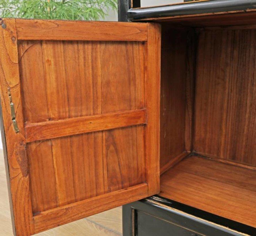 Shelf Chinese dresser cabinet solid wood black