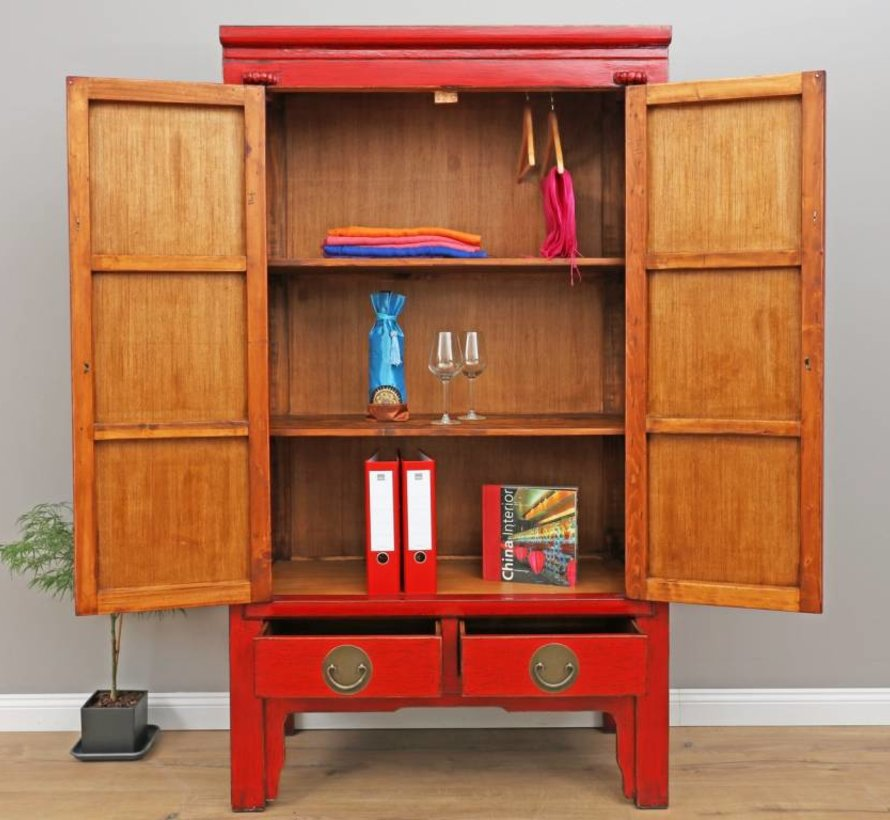 Chinese wedding cabinet solid wood 2 doors wardrobe red