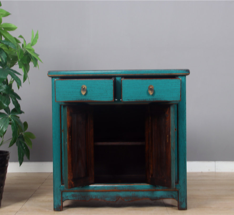 Antique Chinese dresser double doors turquoise