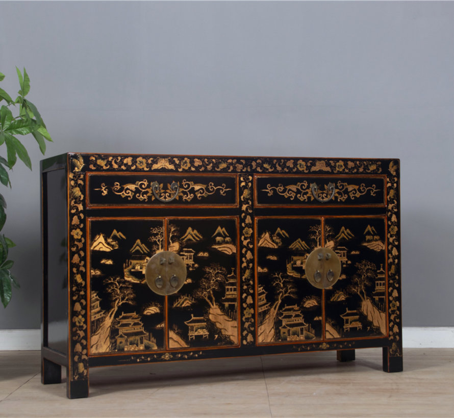 beautiful sideboard with hand gilt painting landscape