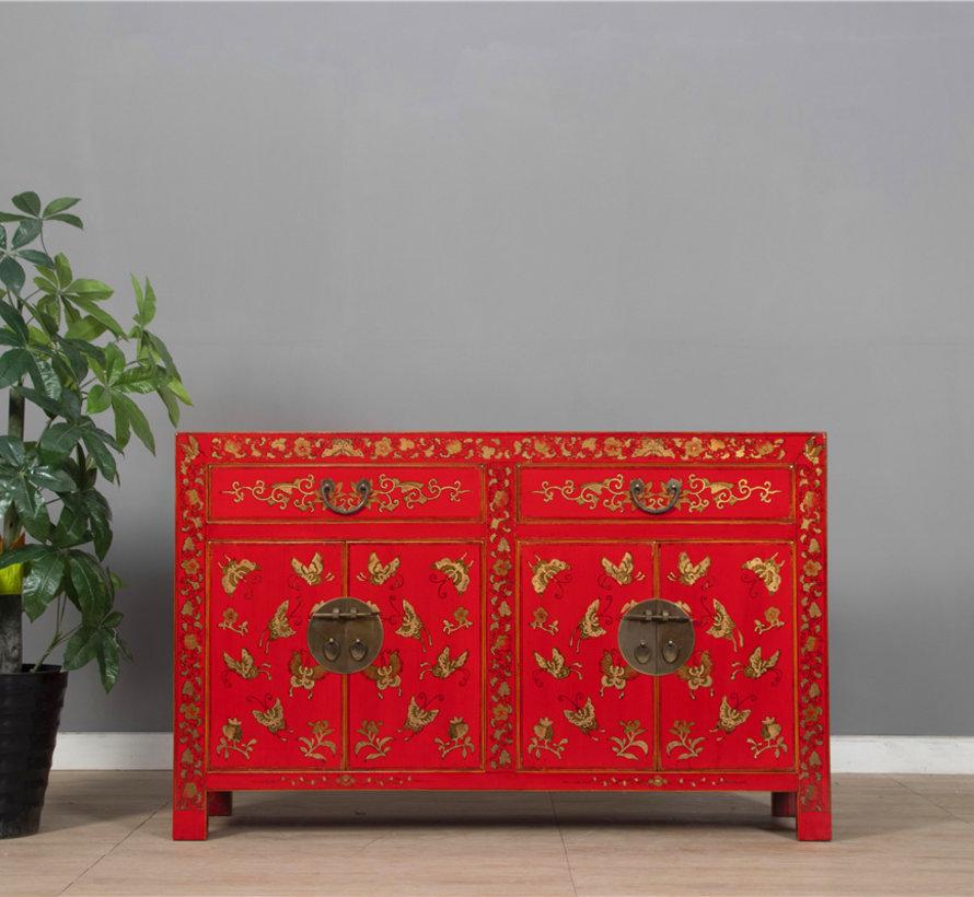 chinesisches Sideboard Handbemalung Schmetterling rot