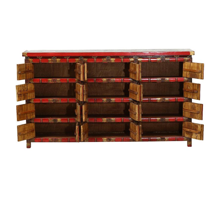 tibetisch handbemalte Sideboard 12 Doppeltüren