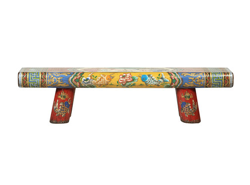 Yajutang Antique Chinese wooden bench handpainted