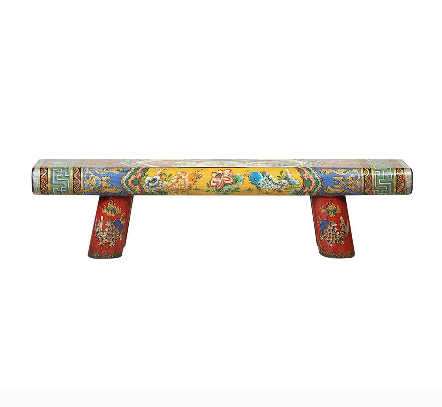 Antike Chinesische Holzbank handbemalt mehrfarbig
