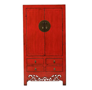 Yajutang Antiker Hochzeitsschrank 2 Türen rot