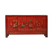 Yajutang Antique sideboard 4 doors painted red