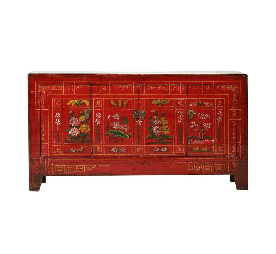 Antikes Sideboard aus China 4 Türen bemalt rot