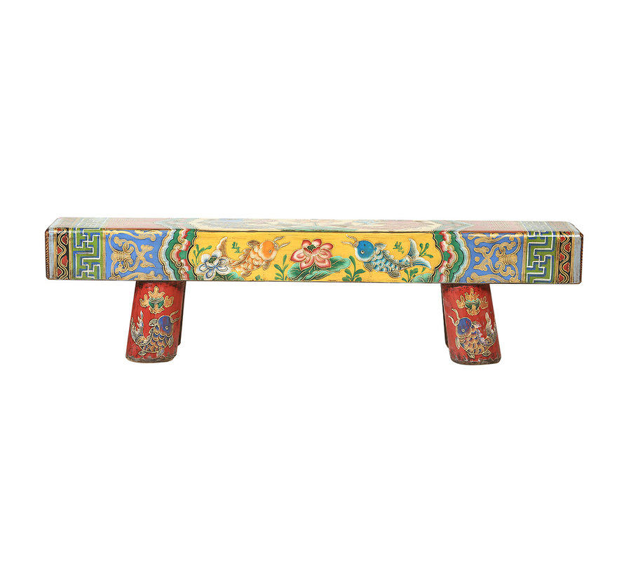 Antique Chinese wooden bench hand painted multicolored
