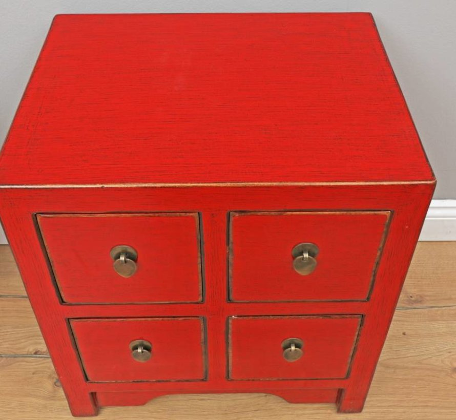 chinesische Kommode Sideboard 4 Schubladen rot