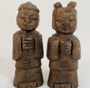 Yajutang Chinese stone figure boy and girl