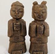 Yajutang Chinesische Stein Figure Junge und Mädchen