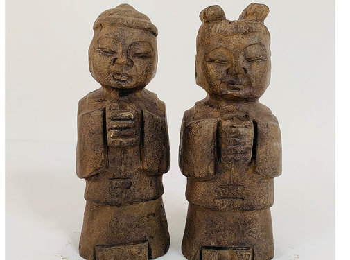 Yajutang Chinese stone figure boy and girl