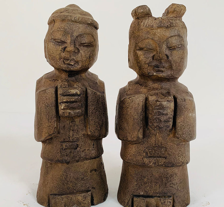 Chinese stone figure boy and girl
