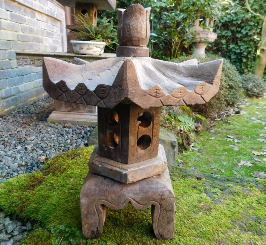 little Stone lantern natural stone with hexagonal roof