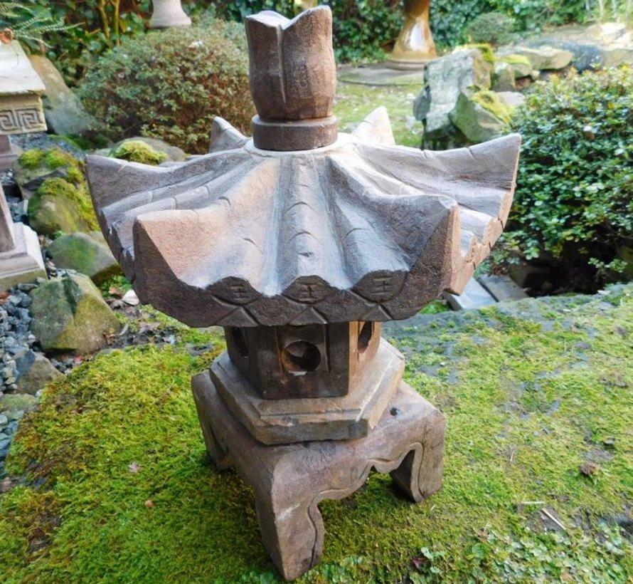 klein Steinlaterne aus Naturstein mit sechseck Dach