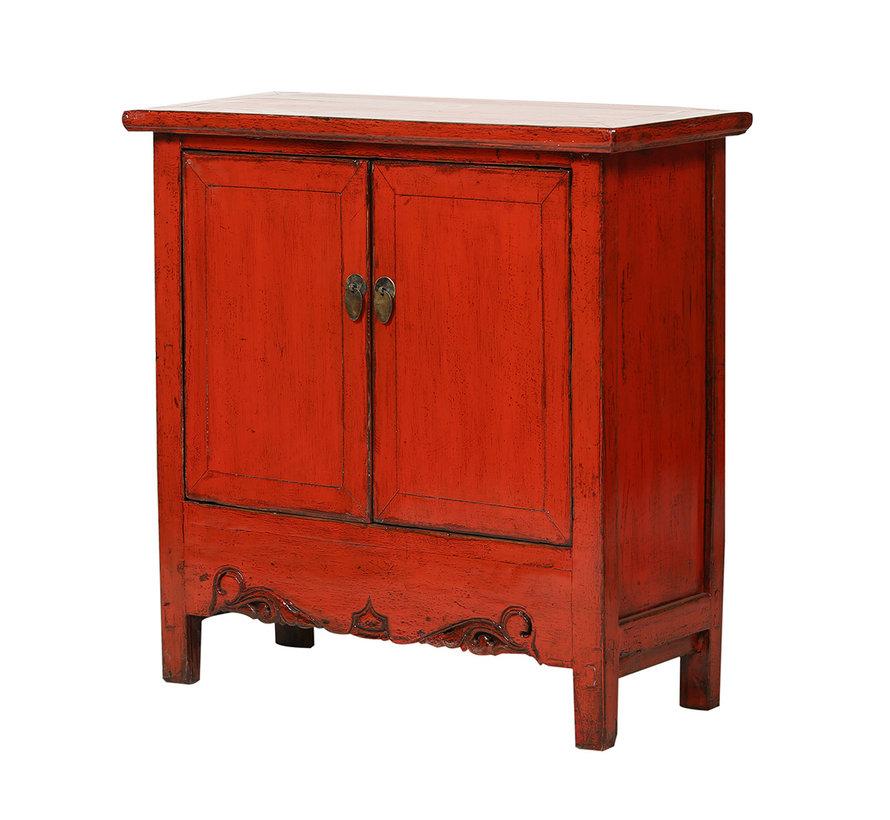 Antike Kommode aus China mit 2 Türen rot