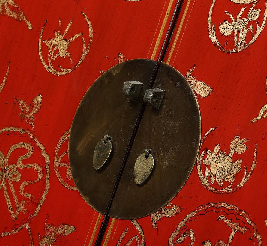 Antiker Hochzeitsschrank 2 Türen 4 Schubladen bemalt rot