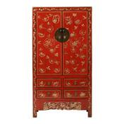 Yajutang Antiker Hochzeitsschrank 2 Türen bemalt rot