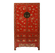 Yajutang Antique wedding cabinet 2 doors painted red