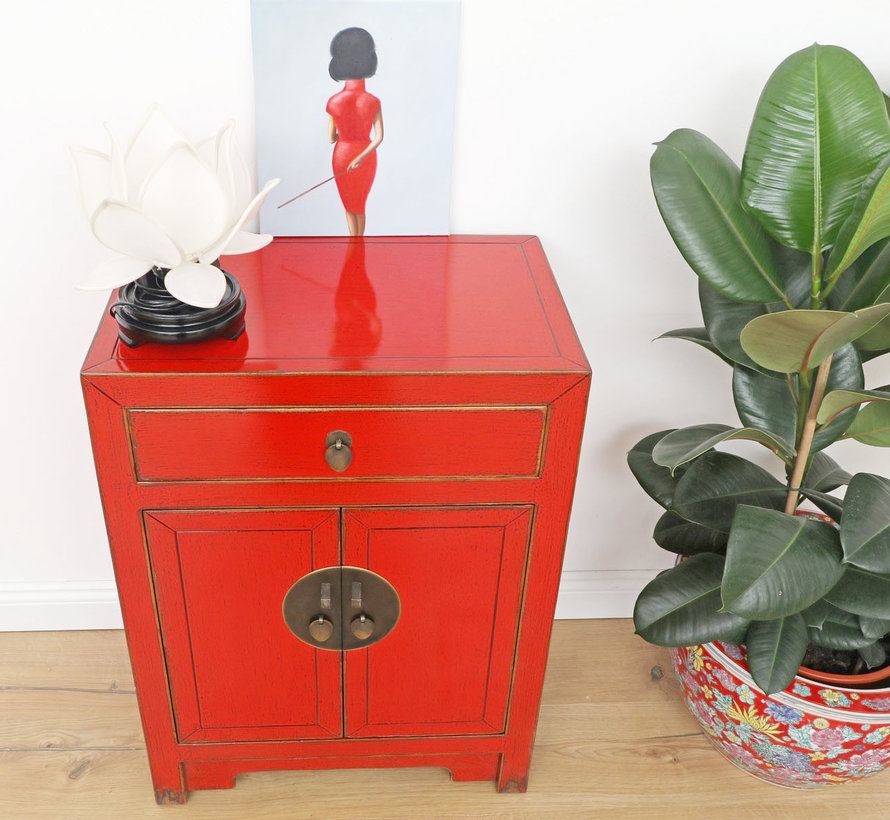 Chinese chest of drawers Asian 2 doors 1 drawer red