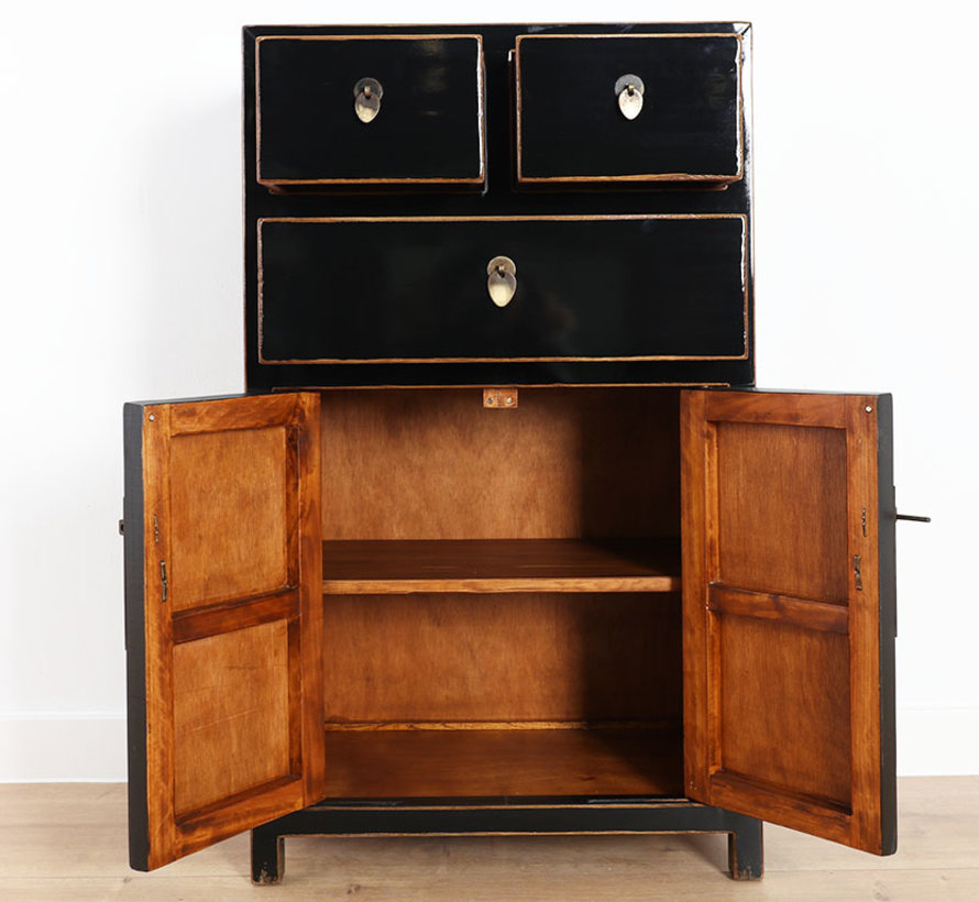 China dresser black lacquered with natural wood edges