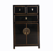 Yajutang black cabinet with natural wood edges