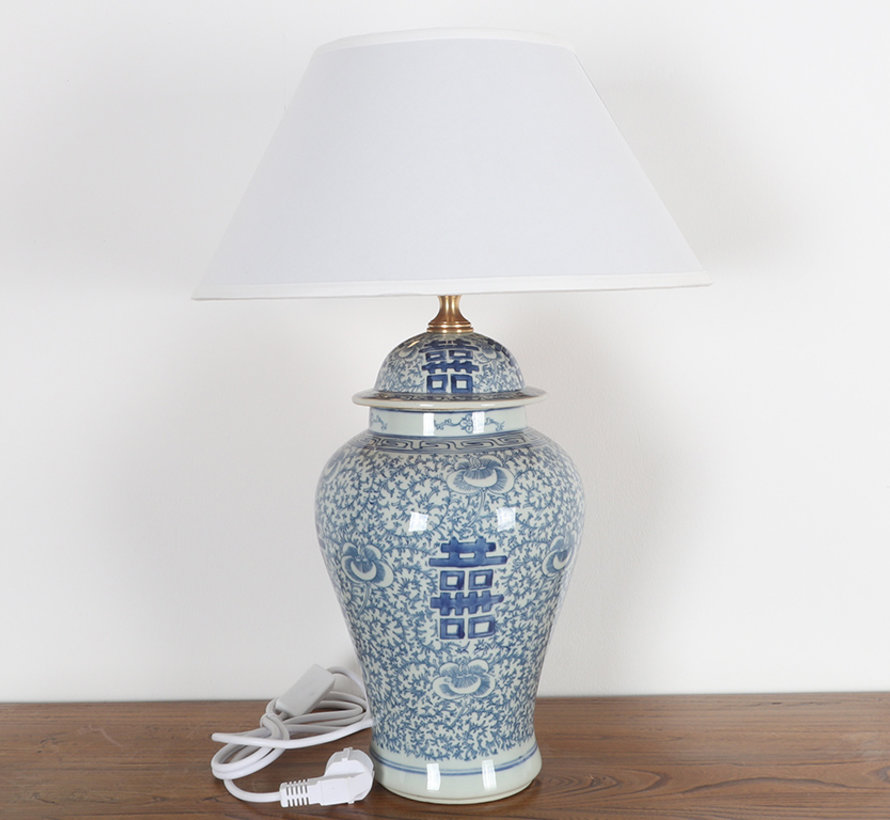 Porzellanvasenlampe mit Doppelglück