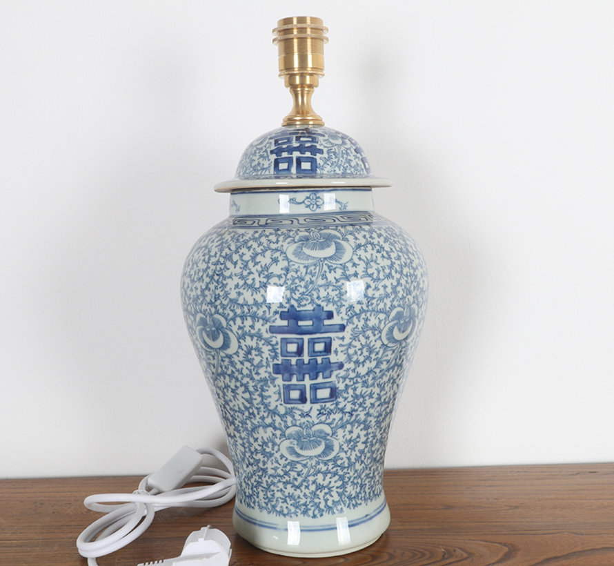 Porcelain vase lamp with double happiness