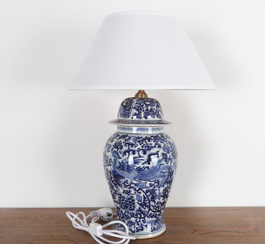 Porzellanvasenlampe mit Phoenix