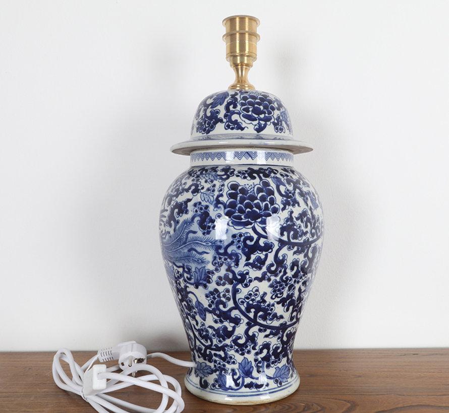 Porcelain vase lamp with phoenix