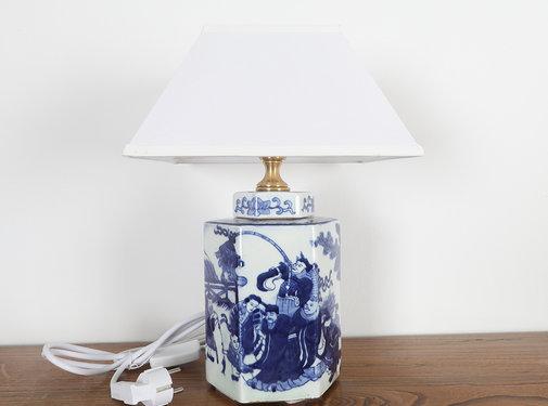 Yajutang Porzellan Vasenleuchte mit Gemälde