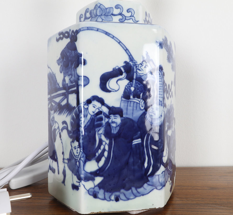 Porcelain vase lamp with painting