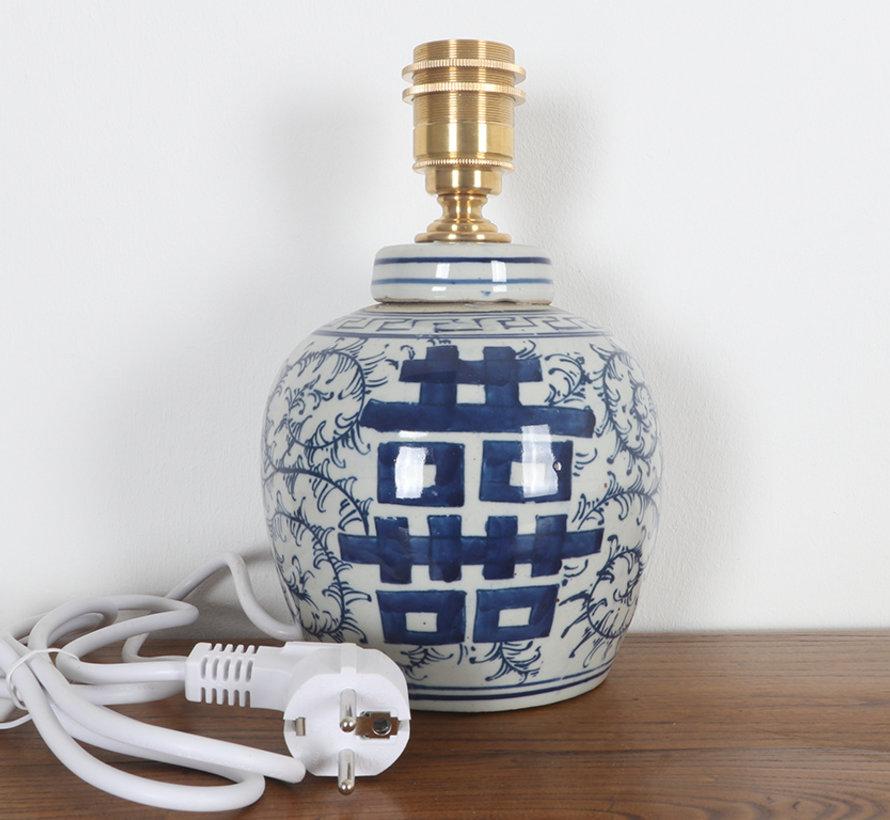 Porzellan Vasenleuchte mit Doppelglück