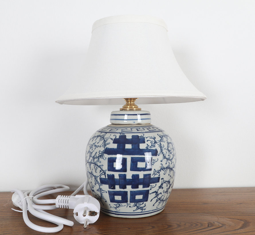Porcelain vase lamp with double luck