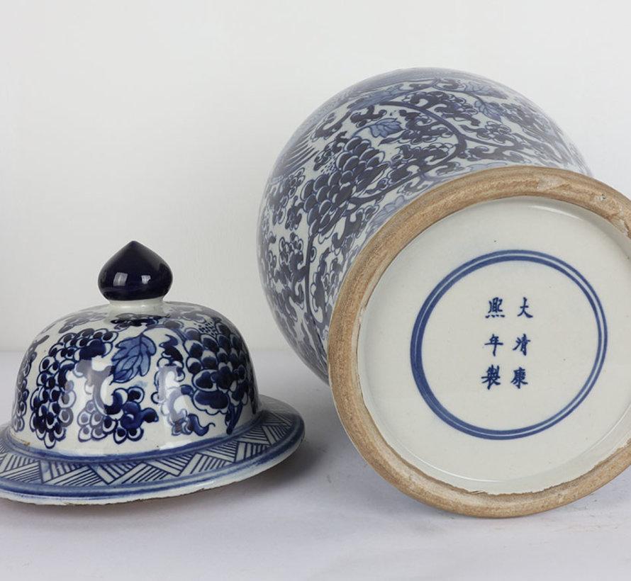 Chinese porcelain lidded vase 40 cm high Ø 20cm