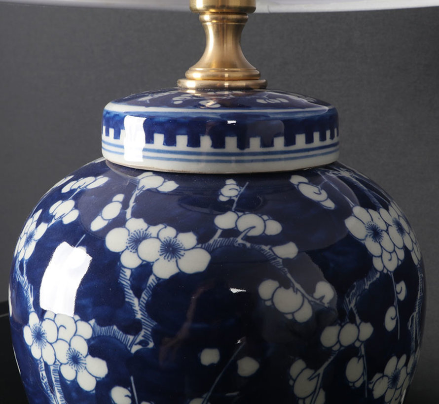 Chinese Vase Lamp with plum blossom blue